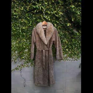 1960's Suede Trench with Shearling Collar